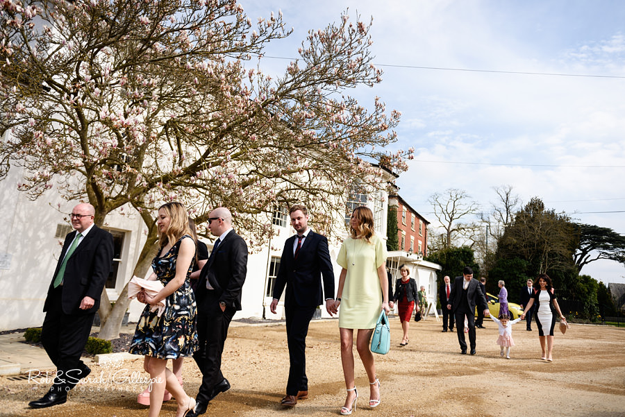 Guests arrive for wedding at Warwick House