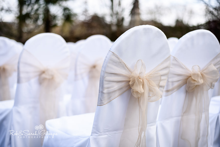 Chair bows for outdoor wedding ceremony at Warwick House