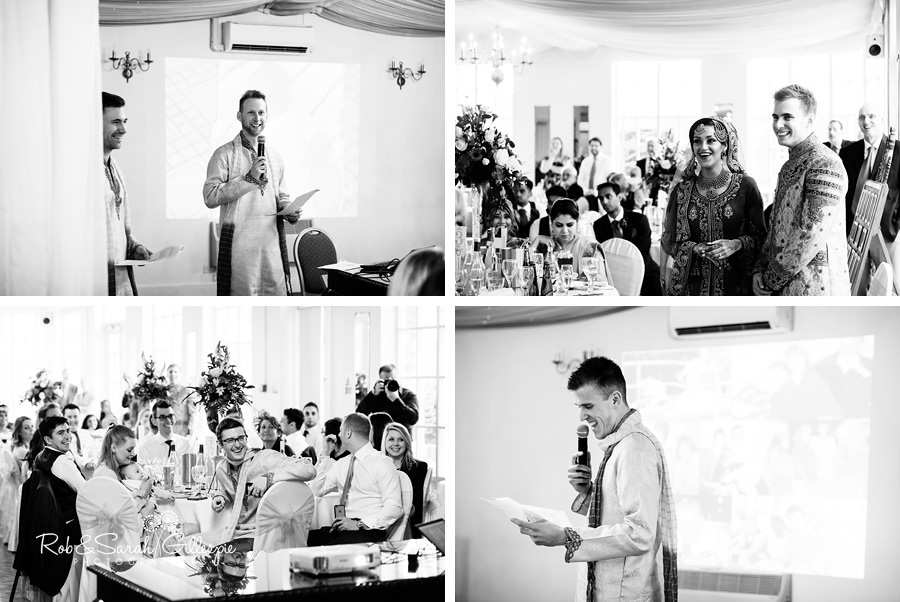 Wedding speeches in main room at Warwick House