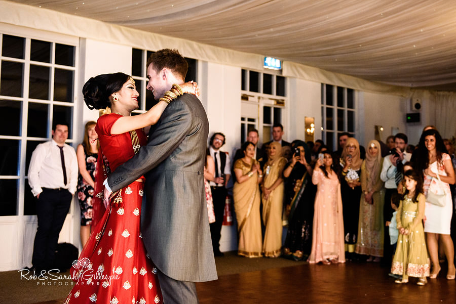 Bride and groom first dance as husband and wife at Warwick House