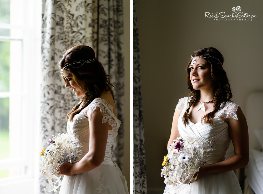 Portraits of bride in window light at Matara Centre, looking at her bouquet and reflecting on the day ahead