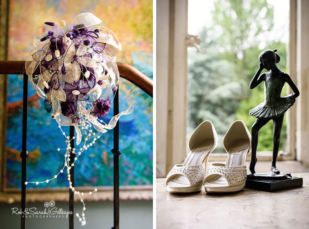 Bride's ornate bouquet and shoes