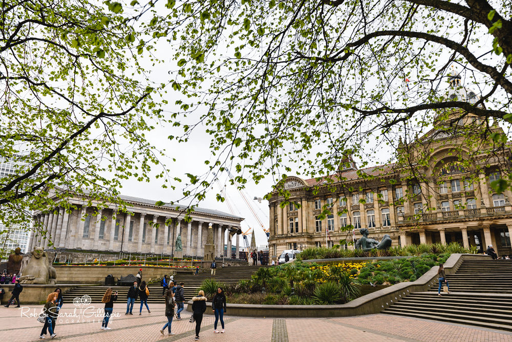 Victoria Square in Birmingham with Town Hall and Council House