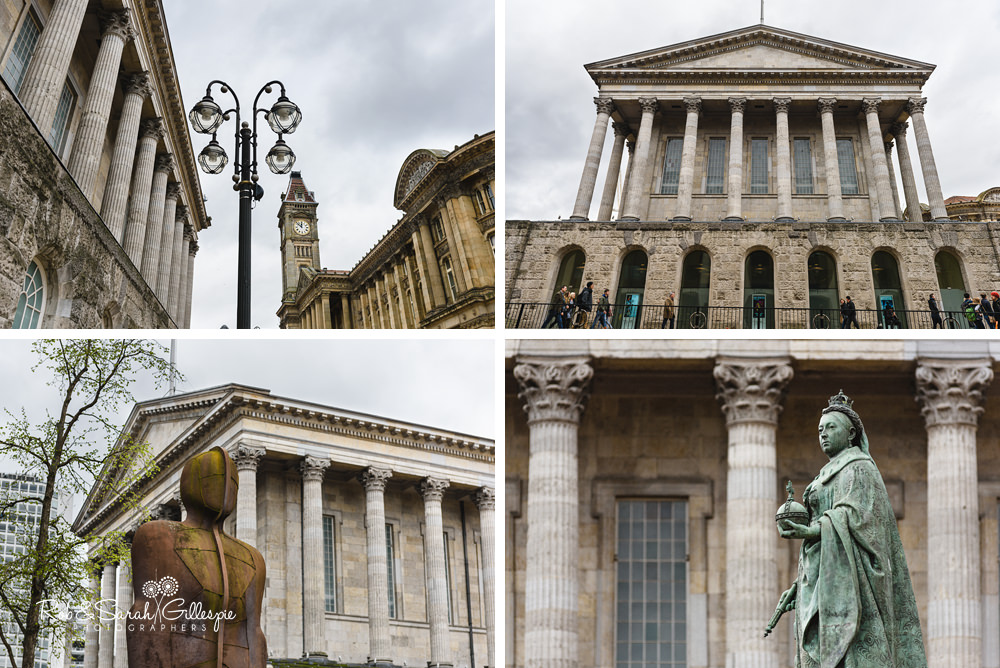 Detail photos of Birmingham Town Hall including Iron Man sculpture and Queen Victoria