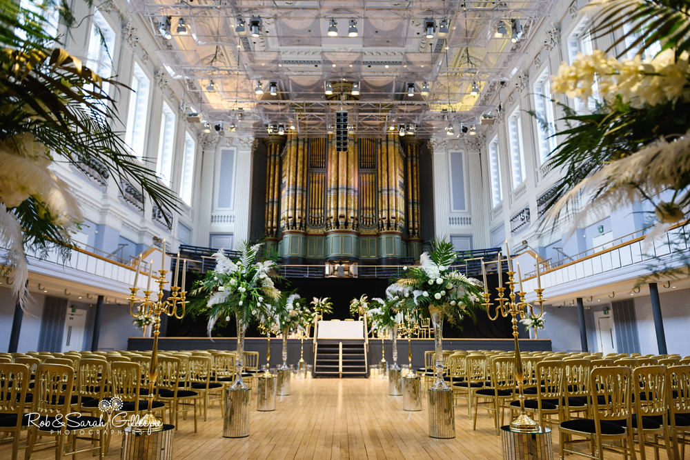 Interior of Birmingham Town Hall set up ready for wedding