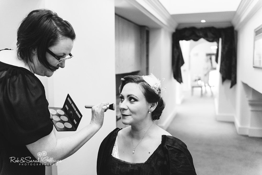 Bride getting ready for wedding at Birmingham Town Hall