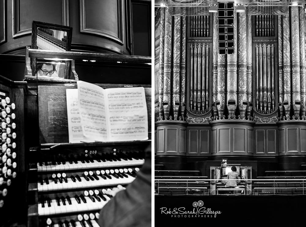 Organist plays pipe organ at Birmingham Town Hall wedding