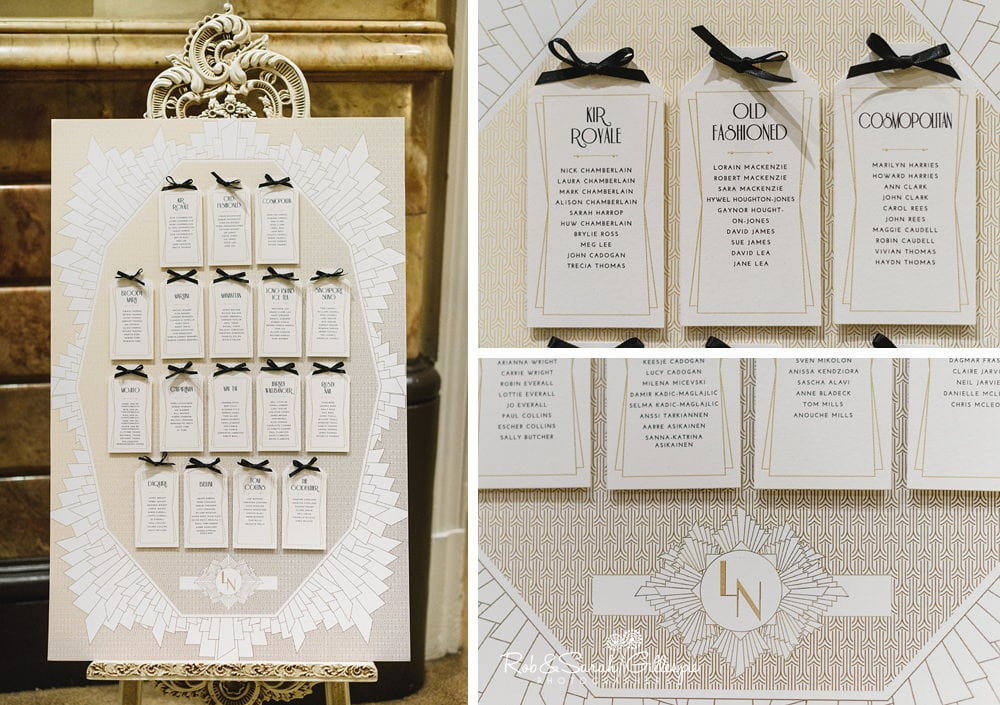 Detail of wedding table plan at Birmingham Town Hall