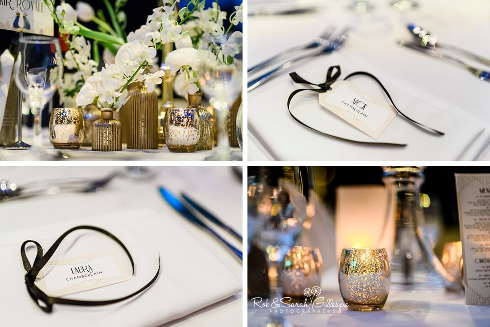 Wedding table details in Birmingham Town Hall