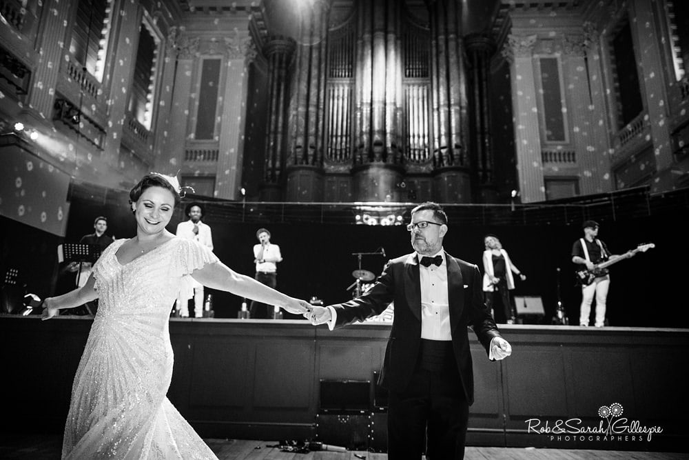 Bride and groom first dance inside Birmingham Town Hall