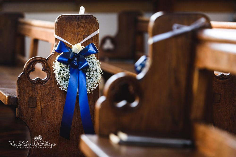 Flower wreath decoration in church