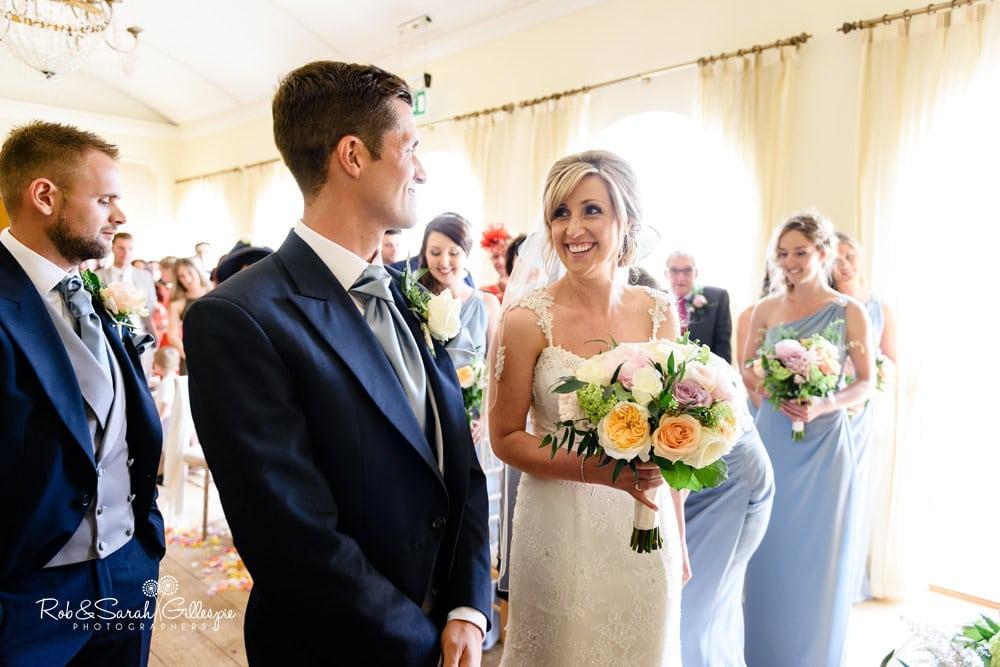 Wedding ceremony in Gold room at Alrewas Hayes