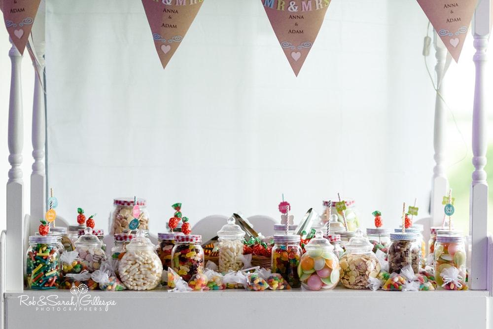 Details of wedding decorations at Alrewas Hayes