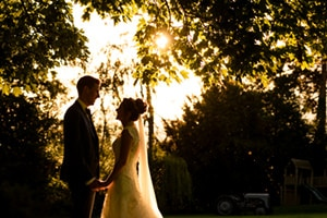 Bride and groom silhouette at Ashton Lodge