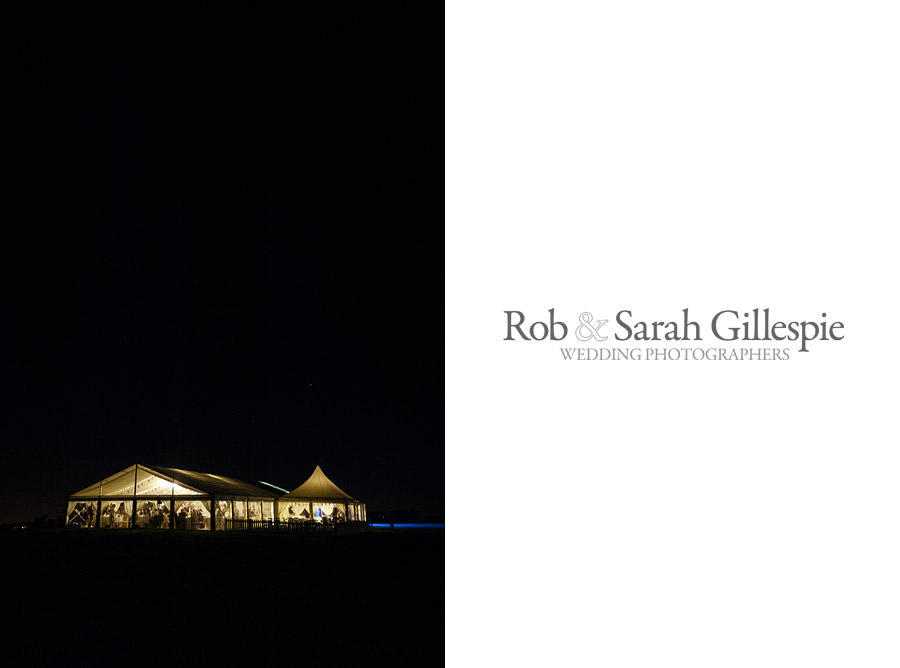Photo of a marquee in the darkness, lit up