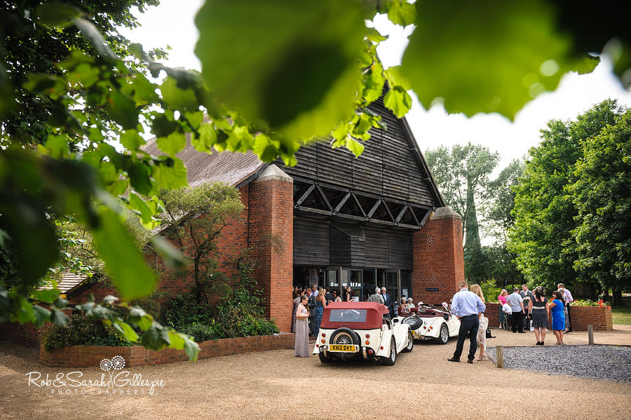 exterior of guesten hall at avoncroft museum during wedding