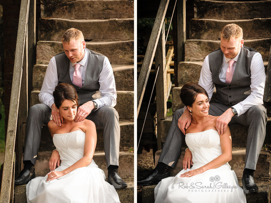 groom gives bride shoulder massage at avoncroft museum