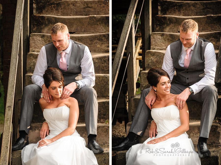 groom gives bride shoulder massage at avoncroft museum