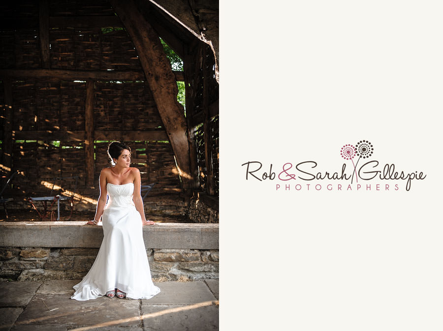 bride poses in old barn at avoncroft museum