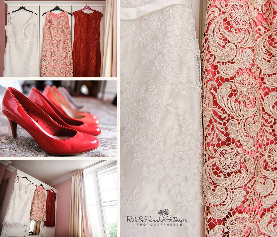 wedding dresses & shoes red and white