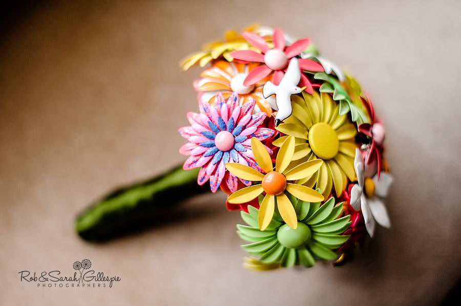 wedding bouquet made from metal brooches