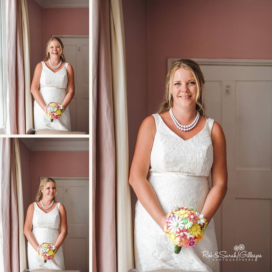 portraits of bride relaxed and happy