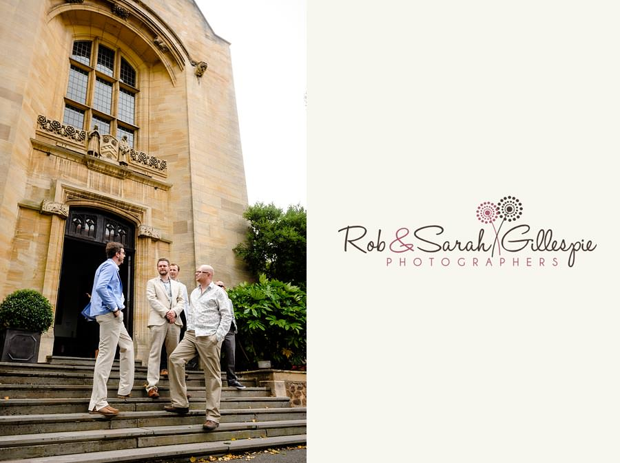 relaxed groomsmen waiting outside malvern college memorial library