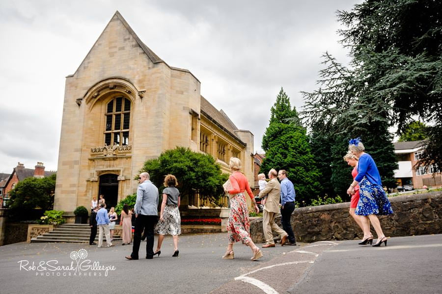 malvern college wedding guests arrive at memorial library