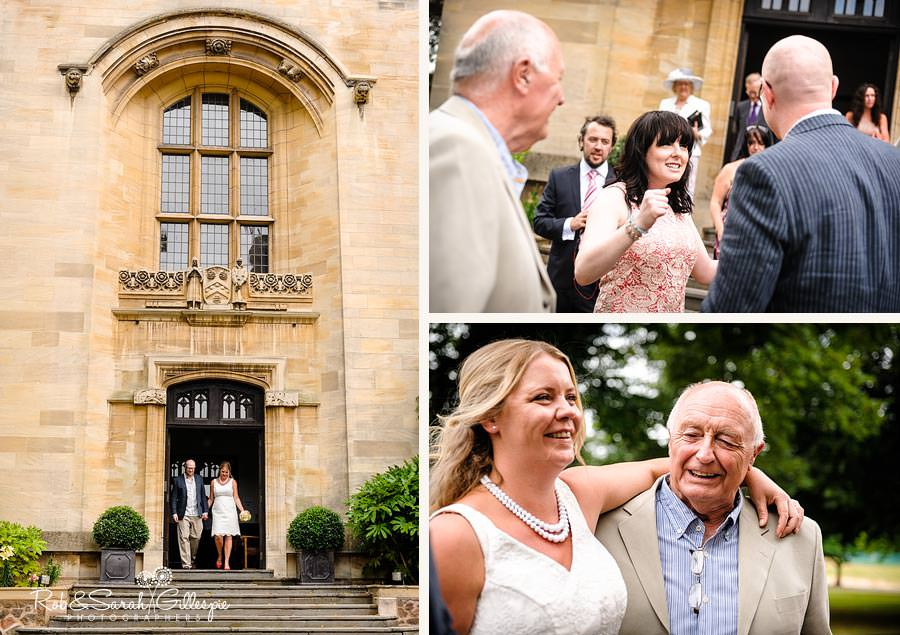 bride and groom leaving memorial library and mingling with guests