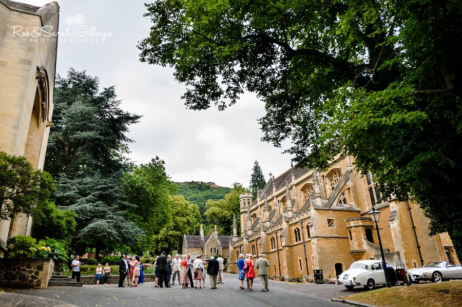 wide photo of guests outside memorial library, malvern college
