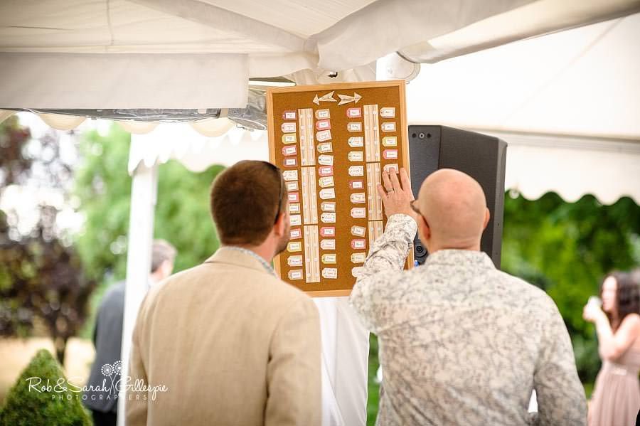 wedding guests looking at table plan