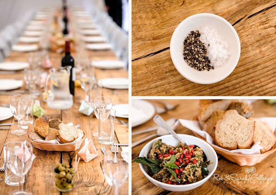 simple wedding details on wooden tables