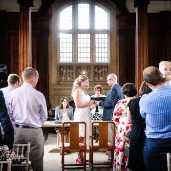Wedding ceremony in Memorial Library at Malvern College