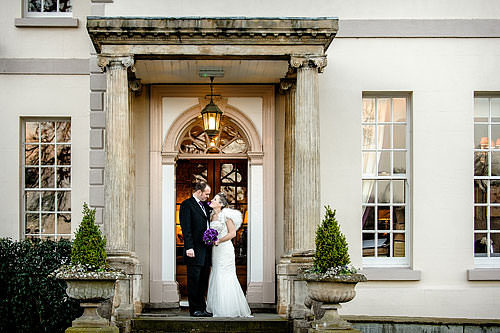 Bride and groom at Brockencote Hall