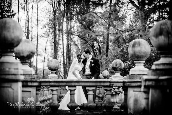 Bride and groom in Hogarths Solihull grounds