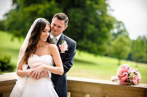 Bride and groom together at Hagley Hall