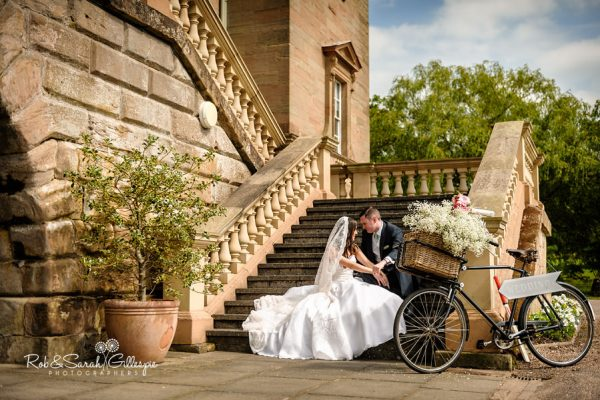 Bride and groom at Hagley Hall