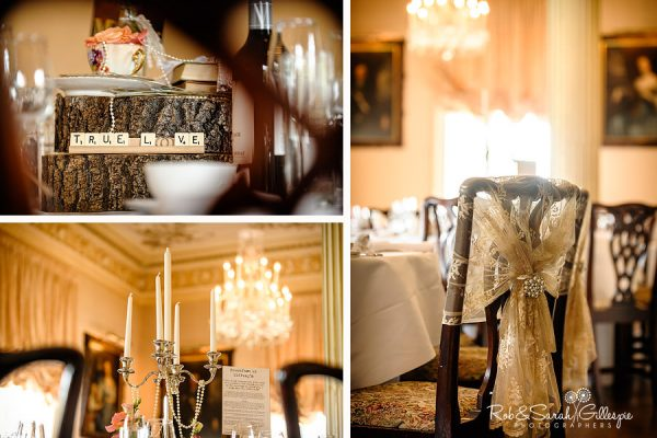 Hagley Hall wedding breakfast table details