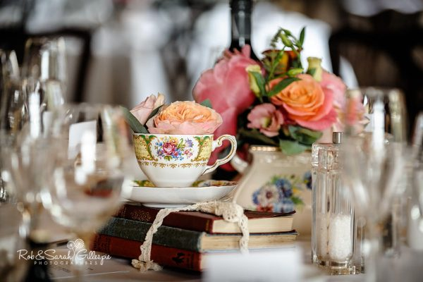Table details at Hagley Hall wedding