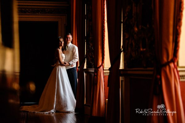 Bride and groom inside beautiful Hagley Hall interior