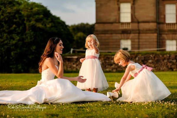 Bride and flowergirls at Hagley Hall