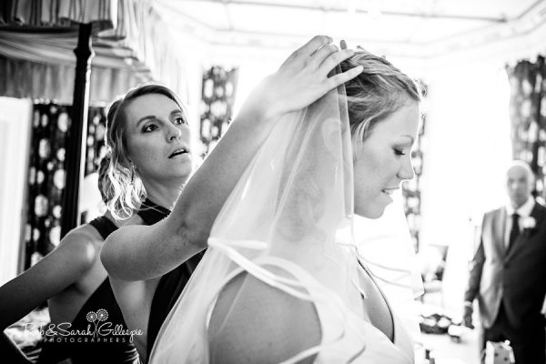 Bride prepares for Welcombe Hotel wedding