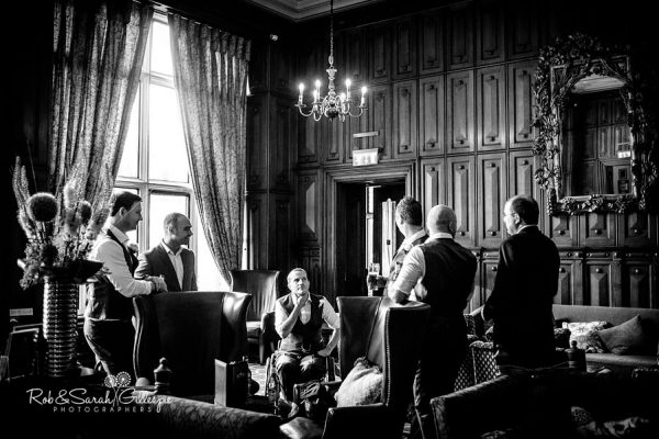 Groom and friends at Welcombe Hotel wedding