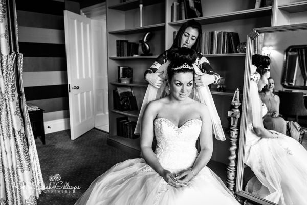 Bride prepares for wedding at Welcombe Hotel in Warwickshire