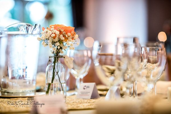Welcombe Hotel wedding reception table details