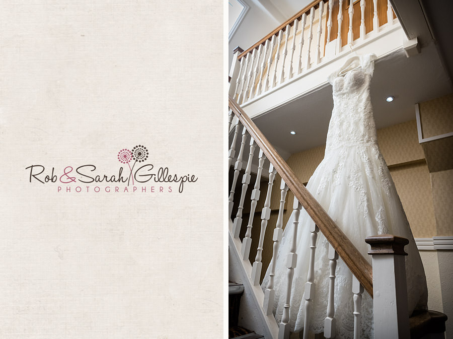 wedding dress hanging on stairway