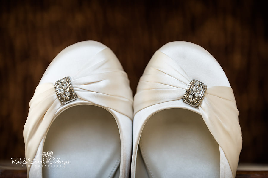 wedding shoes with detailed silver buckle