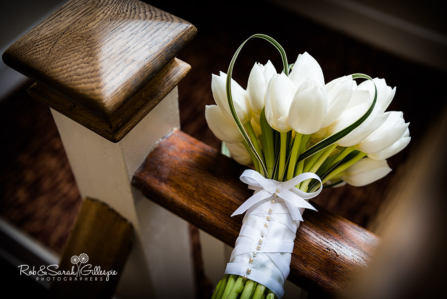 white wedding flowers in beautiful natural light