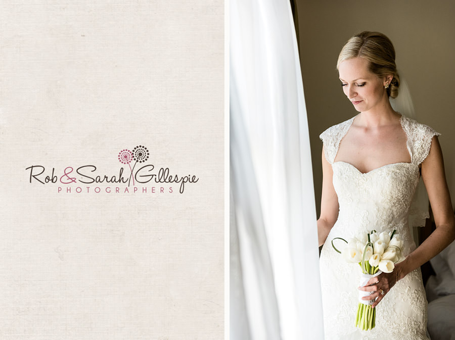 Portrait of beautiful blonde bride on her wedding day holding white bouquet