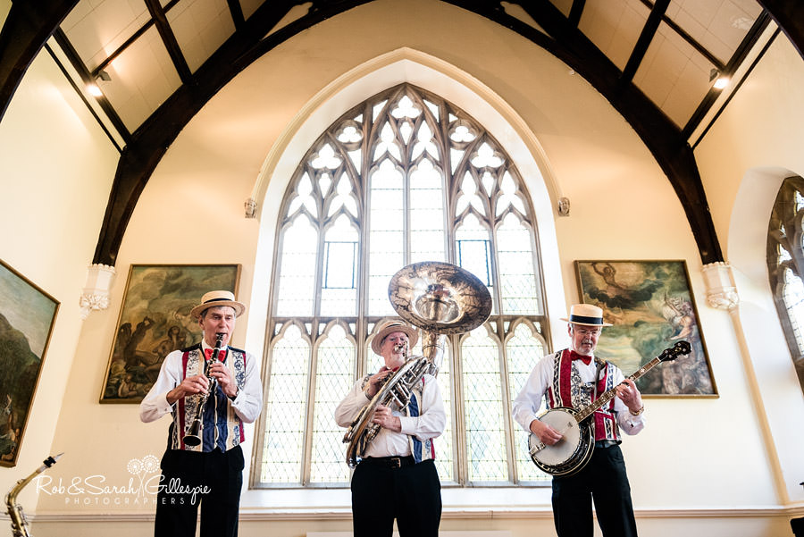 Dixie band play at Malvern College wedding